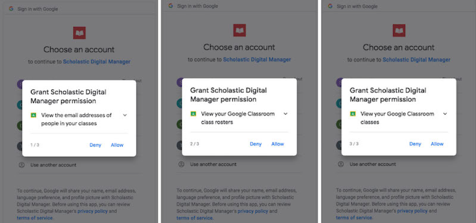 logging in with Google Classroom give Scholastic digital manager permission