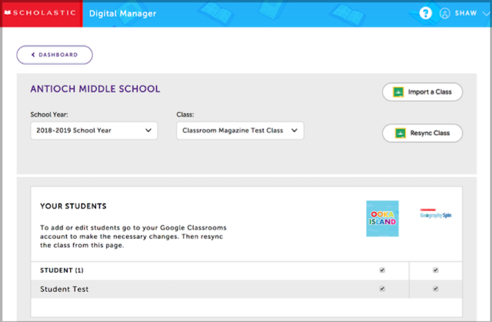 once your classes are imported to Scholastic Digital Manager, you can grant students access