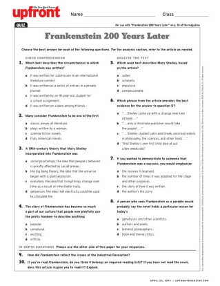 frankenstein discussion questions and answers