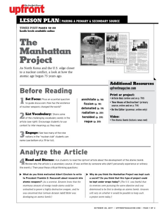 information on the manhattan project essay Background information: the department of energy traces its origins to world war ii and the manhattan project effort to build the first atomic bomb as the direct descendent of the manhattan engineer district, the organization set up by the army corps of engineers to develop and build the bomb, the department continues to own and manage the.