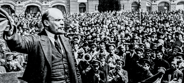 Communist leader Vladimir Lenin speaking to troops in Red Square after the  revolution